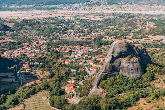 Meteora rocks and Kalambaka valley, Greece
