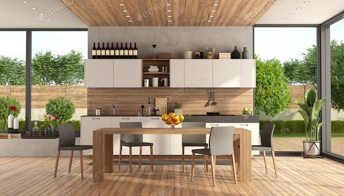 Wooden and white modern kitchen