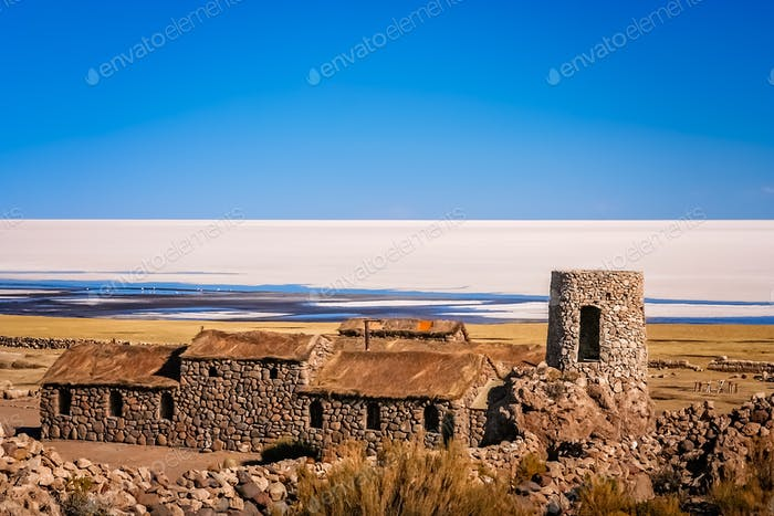 Old building on the shore of Salar de Uyuni