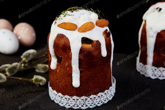 Happy Easter, Easter composition with orthodox sweet cake,