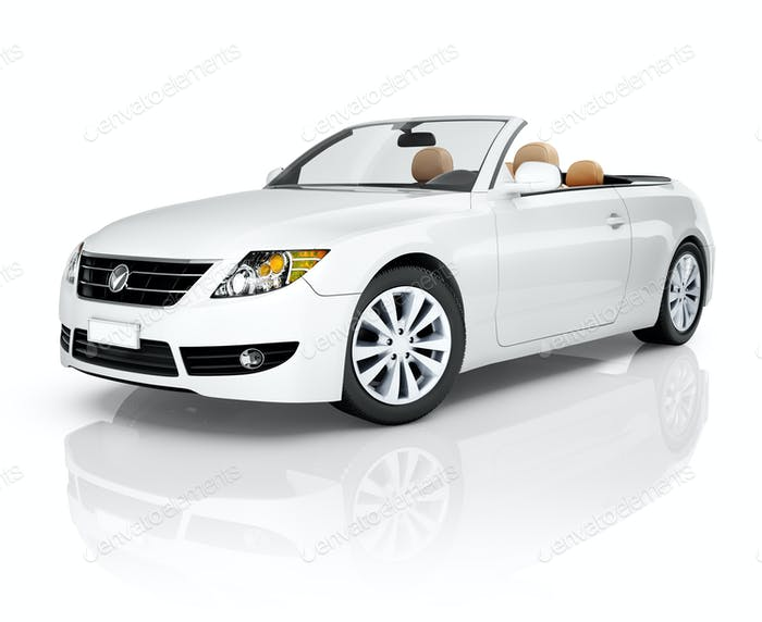 Side View Studio Shot Of White Convertible