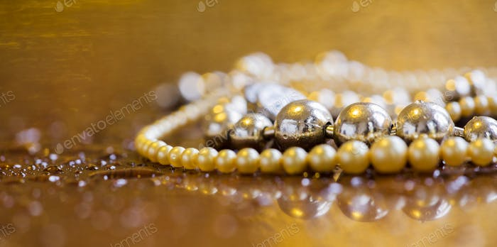 Luxury, wealth concept  - web banner of pearls jewelry