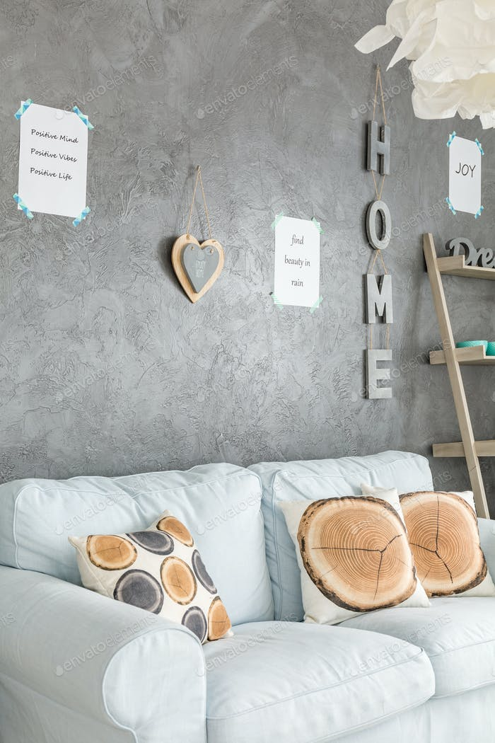 Room with letters on its wall