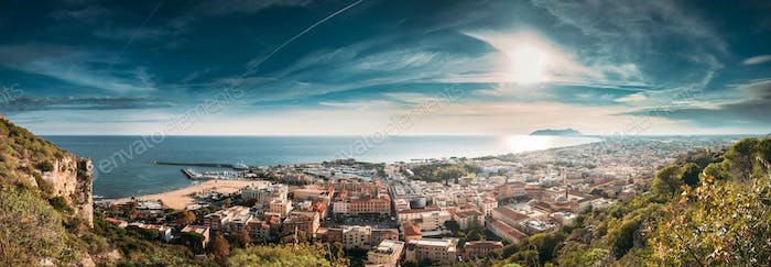 Terracina, Italy. Top View Of Terracina And Tyrrhenian Sea In Su