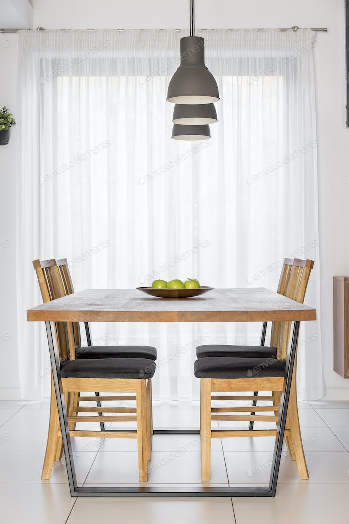 Communal table with chairs