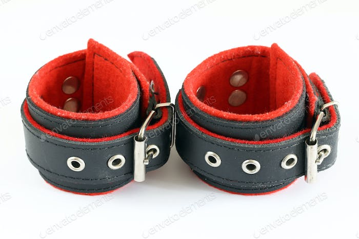 Leather handcuffs for erotic games