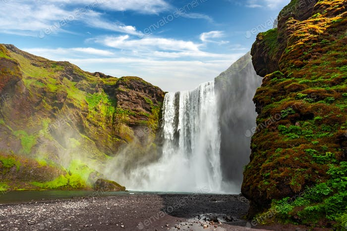 Famous Skogafoss waterfall on Skoga river