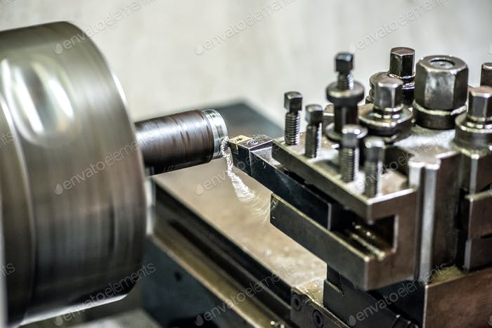 Lathe machine working in close-up