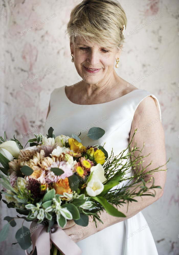 Senior Caucasian Bride Holding Flower Bouquet Wedding Engagement