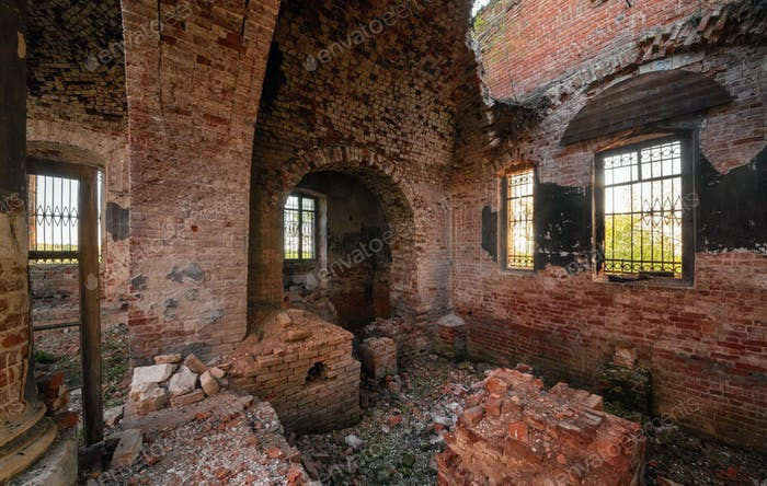 Ruins of an abandoned brick orthodox church