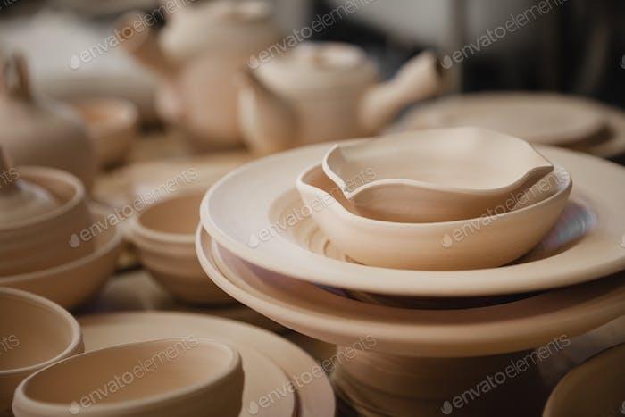 Roasted ceramimc plates without glaze closeup