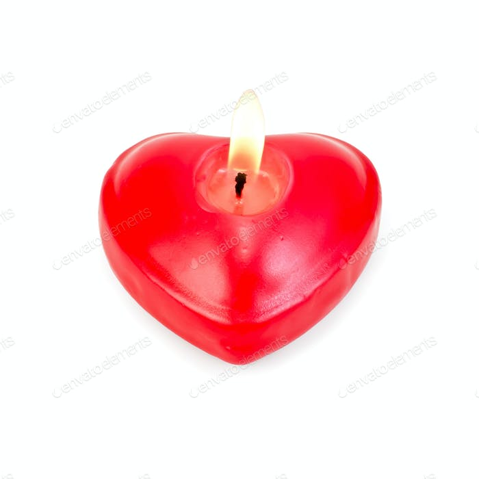 Hearts one in the form of burning candles