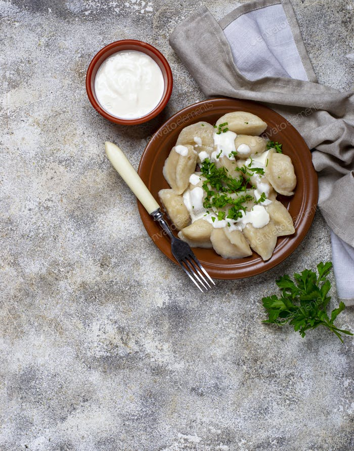 Dumplings with potatoes, Ukrainian dish