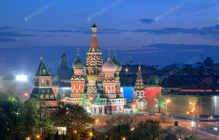 Cathedral of Vasily the Blessed in Red Square in Moscow, Russia