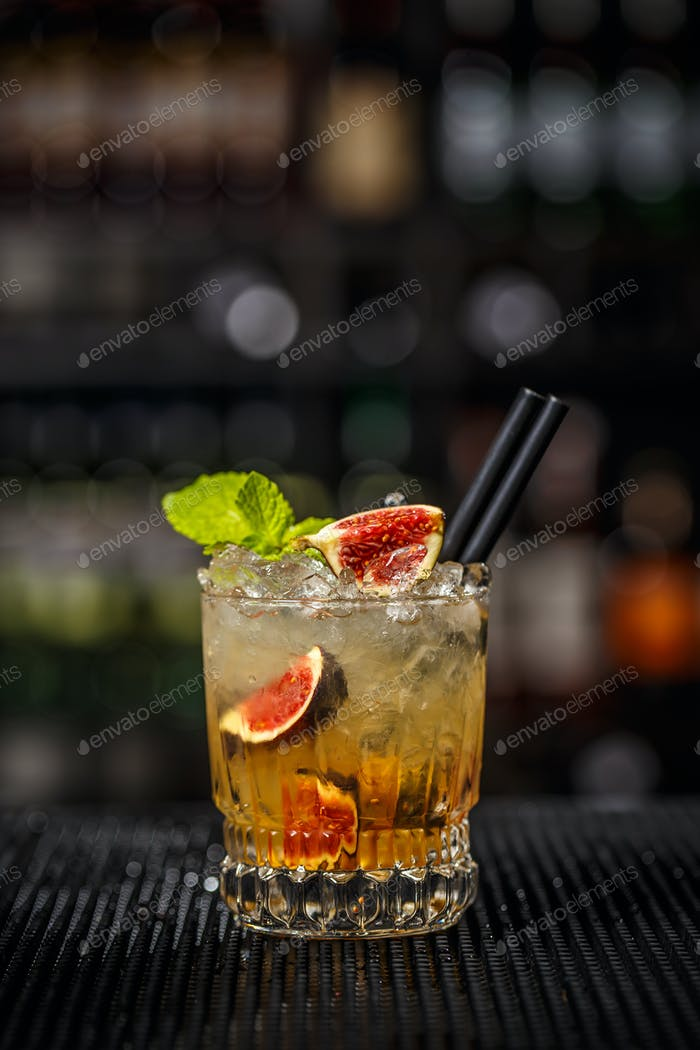 Glass of iced refreshing cocktail