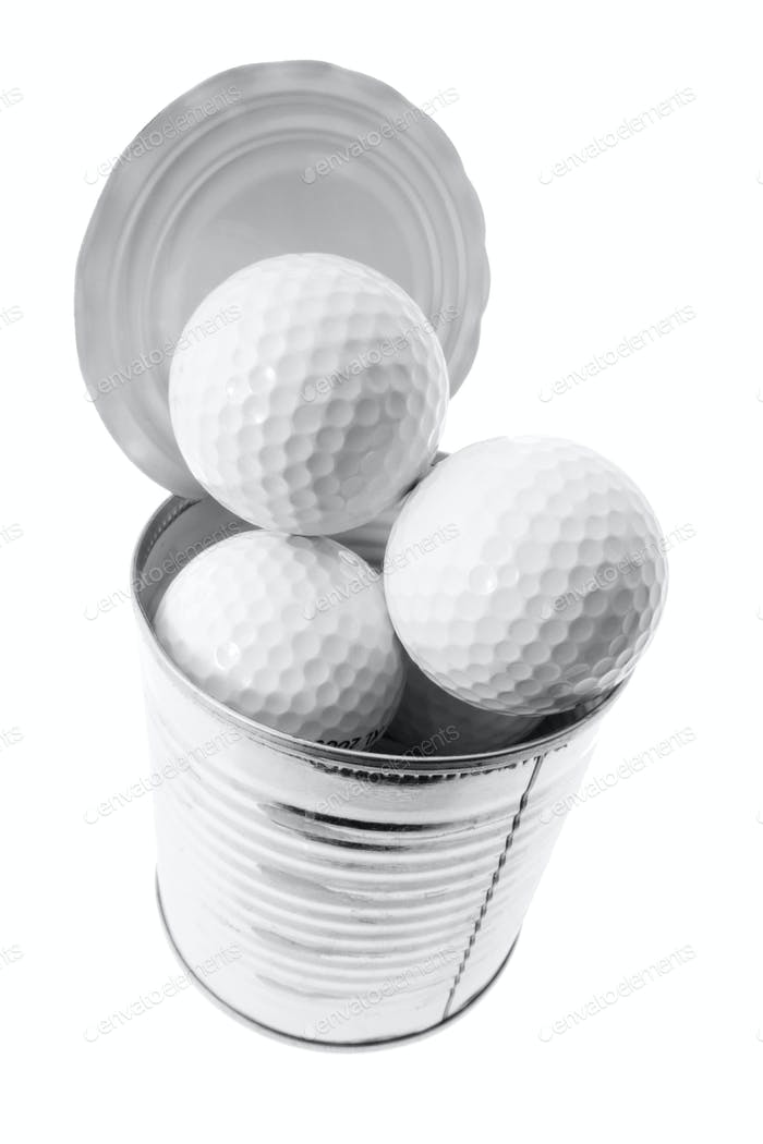 Golf Balls in Tin Can