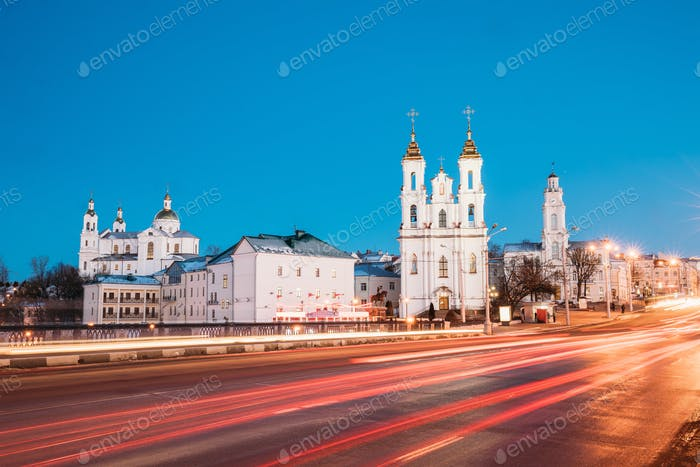 Vitebsk, Belarus. Traffic At Street And Holy Assumption Cathedra