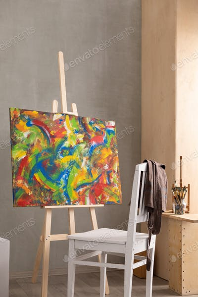 Paint brush and oil painting. Art still life and paintbrush painting in artist creative studio
