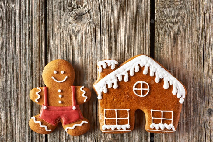 Christmas gingerbread man and house cookies