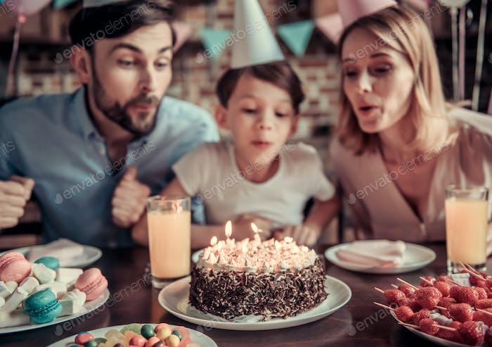 Family celebrating birthday