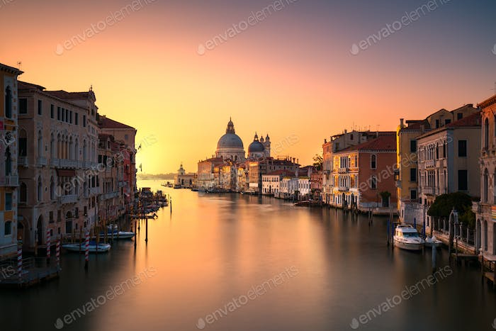 Venice grand canal, Santa Maria della Salute church landmark at