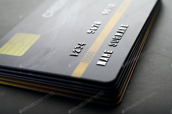 Credit cards that are stacked neatly together,selective focus