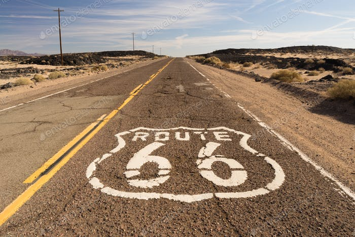 The historic route 66 road still survives in the southwest