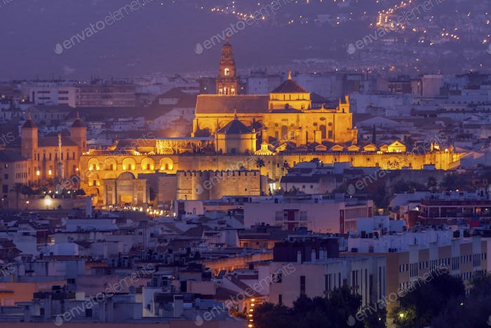 Night panorama of Cordoba with Mosque Cathedral