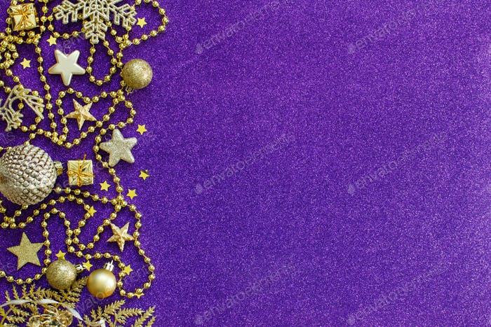 Purple and golden festive christmas decorations