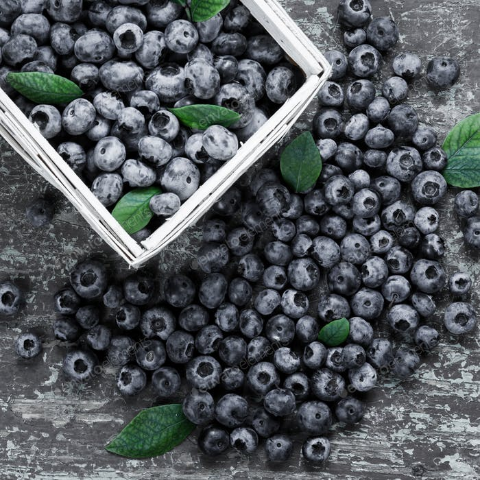 Juicy blueberries in basket