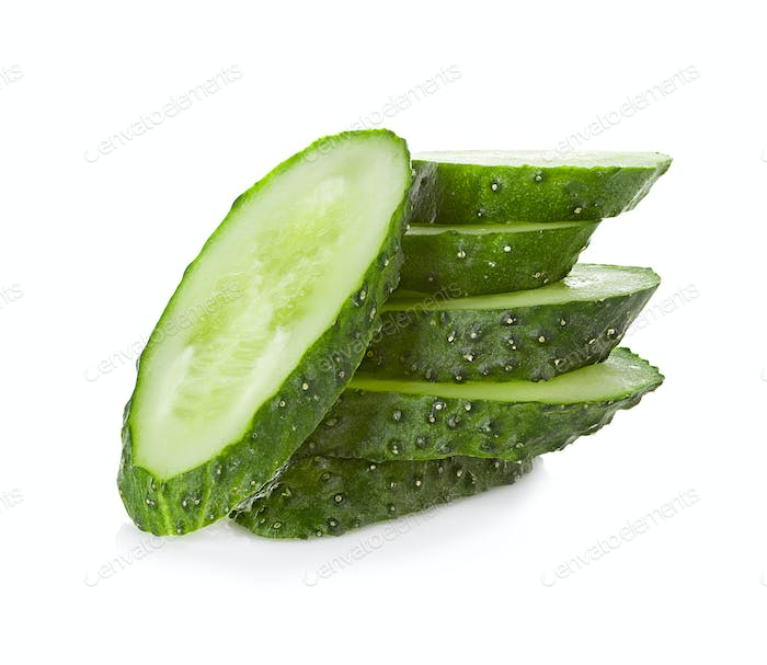 slices cucumber on white background
