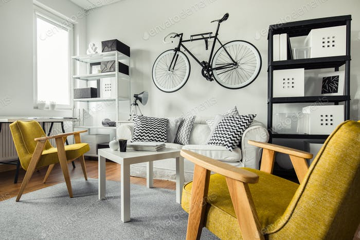 Yellow armchairs in living room