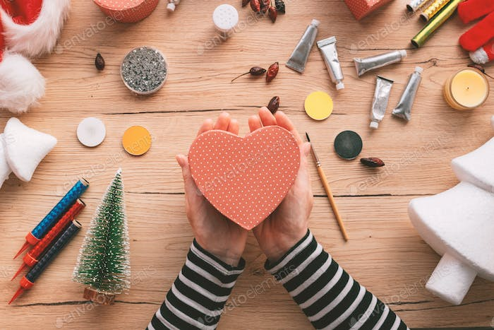 Creative diy craft hobby, making heart-shaped gift box