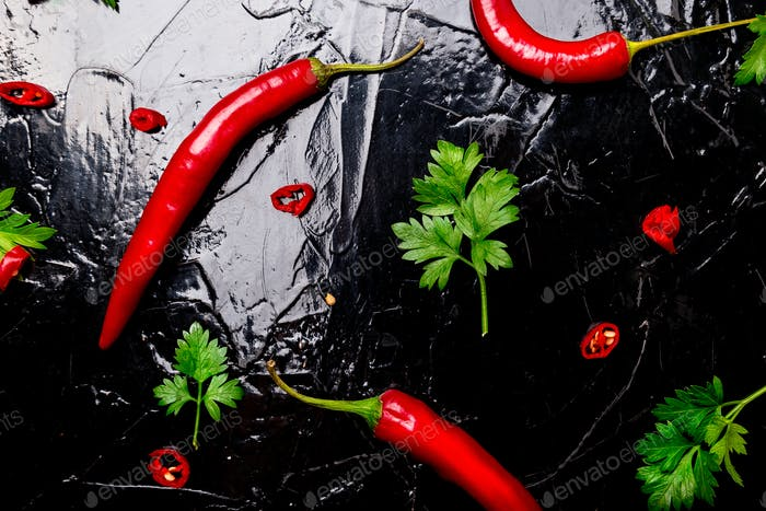 Red chili pepper and parsley