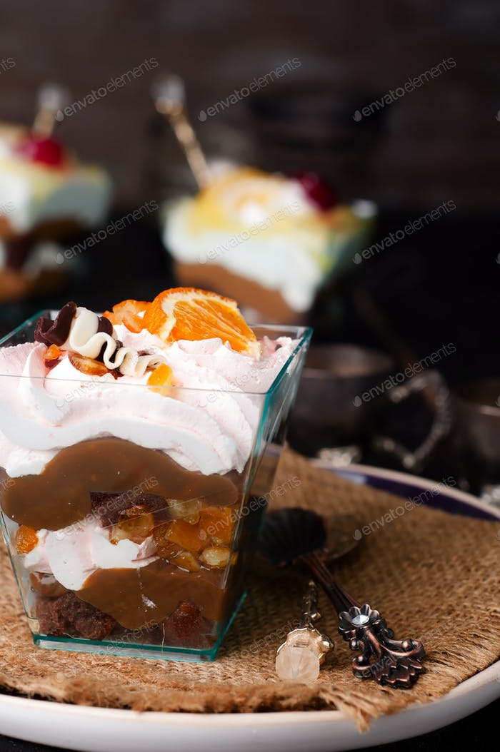 dessert with cream in a glass
