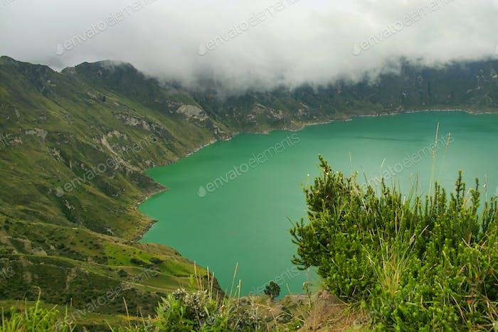Lake Filled Quilotoa Caldera, Ecuadorian Andes, Ecuador