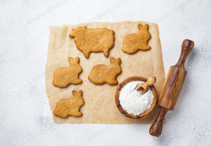 Easter cookies in shape of bunny and sheep