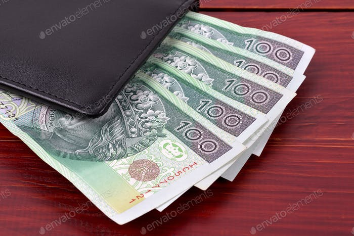 Polish money in the black wallet