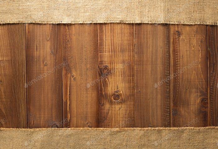 sack burlap hessian at wood