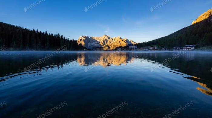 Lake Misurina at sunrise, Dolomite Mountains, Italy