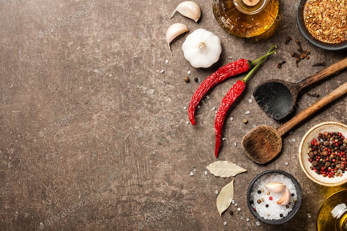 Cooking table with spices