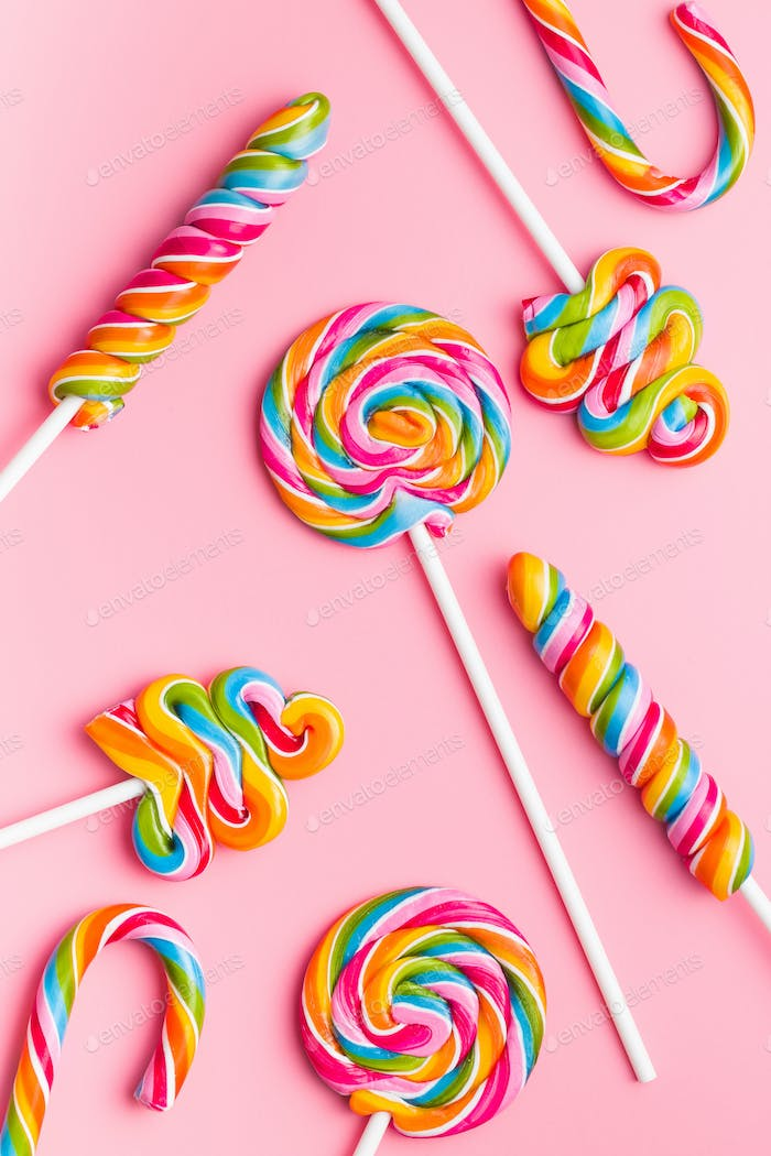 Various colorful lollipops.