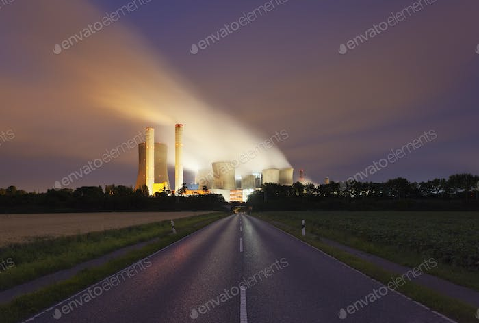 Road To Power Station At Night