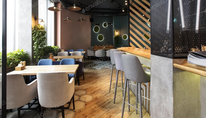Empty restaurant interior while coronavirus pandemic, no people