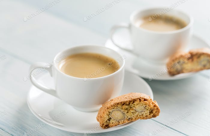 Two cups of coffee with cantuccini
