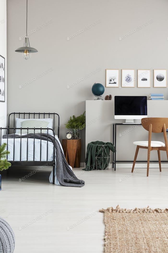Elegantes graues Teenager Schlafzimmer