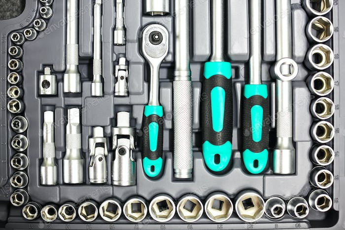set of wrenches and bits.
