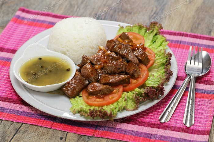 beef lok lak, cambodian national dish