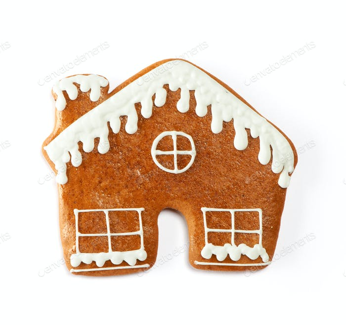 Christmas gingerbread house cookie