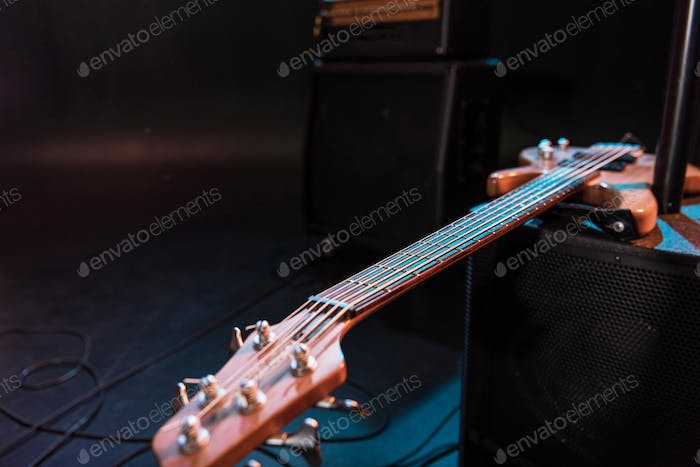 Close-up view of electric guitar for hard rock concert on stage